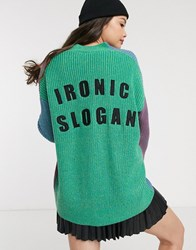 Lazy Oaf Relaxed Colour Block Cardigan With Ironic Slogan Embroidery Multi