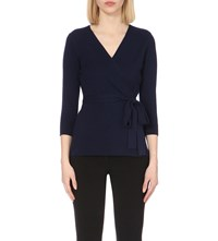 Diane Von Furstenberg Ballerina Two Silk And Cashmere Blend Wrap Jumper Midnight