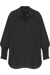 The Row Seenu Smocked Silk Crepe Shirt Black