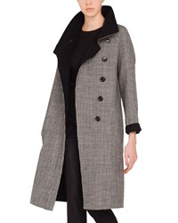 Akris Terrance Reversible Stand Collar Button Panel Houndstooth Wool Coat Black White