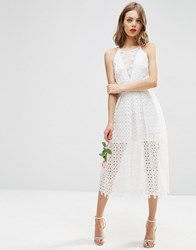 Asos Bridal Premium Lace Midi Dress With Sheer Insert White