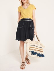 And Or Short Embroidery Skirt Black