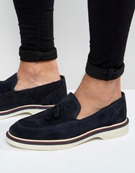 Asos Loafers In Navy Suede With Wedge Sole Navy