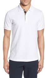 Men's Burberry Brit 'Oxford' Short Sleeve Polo White
