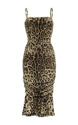 Dolce And Gabbana Leopard Cocktail Dress Brown