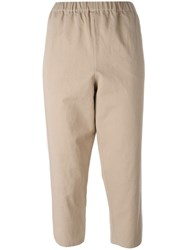 N 21 No21 Elasticated Waistband Cropped Trousers Nude Neutrals