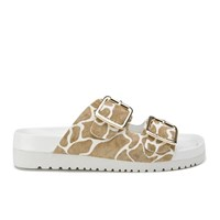 Senso Women's Ida Xi Double Strap Giraffe Pony Sandals Steel Cream