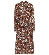Equipment Printed Silk Midi Dress Orange