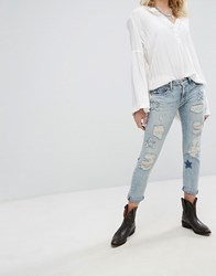 Denim And Supply Ralph Lauren By Slim Boyfriend Jeans With Distressing Star Detail Blue