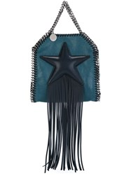 Stella Mccartney Tiny 'Falabella Fringed Star' Tote Blue