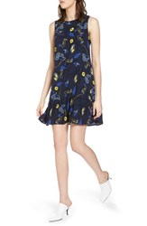 Halogen Ruffle Hem Shift Dress Navy Yellow Floral