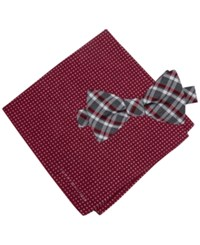 Tommy Hilfiger Men's Grid To Tie Bow Tie And Dot Pocket Square Set Red