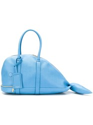 Thom Browne Pebbled Leather Whale Bag Blue
