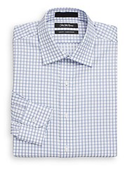 Saks Fifth Avenue Slim Fit Checkered Dress Shirt French Blue