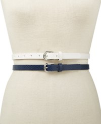 Inc International Concepts 2 For 1 Embossed And Solid Belts Created For Macy's Navy