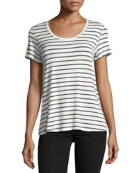 Majestic Paris For Neiman Marcus Soft Touch Scoop Neck Short Sleeve Striped Top Milkmarine
