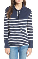 Barbour Women's Rief Stripe Cotton Funnel Neck Sweater Navy Cloud