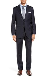 Hickey Freeman Men's Big And Tall 'Beacon B Series' Classic Fit Wool Suit Navy