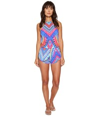 Luli Fama Star Girl Engineered Backless Romper Multi Women's Swimsuits One Piece