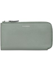 Burberry Two Tone Leather Ziparound Wallet And Coin Case Blue
