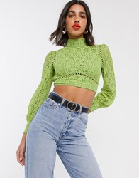 Fashion Union Backless Top In Lace Multi