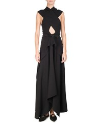 Proenza Schouler Cross Front Tie Waist Maxi Dress Black