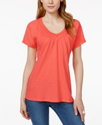 Jm Collection Crochet Trim V Neck Tee Only At Macy's Porcelain Rose