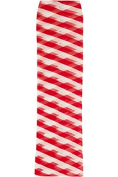 Stella Mccartney Striped Cotton Mesh Maxi Skirt Red White
