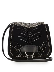 Miu Miu Dalia Studded Velvet Cross Body Bag Black