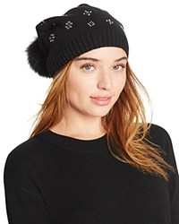 Aqua Slouchy Knit Hat With Fox Fur Pom Pom And Floral Studs Black
