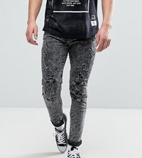 Cayler And Sons Skinny Jeans With Distressing In Acid Wash Black