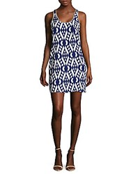 Collective Concepts Printed Mini Dress Blue White