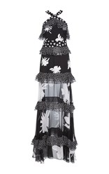 Prabal Gurung Sleeveless Tiered Ruffle Gown Black White