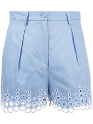 Carven Embroidered Dots Shorts Blue