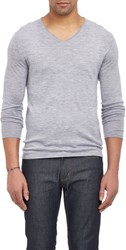 Barneys New York Cashmere V Neck Sweater Grey