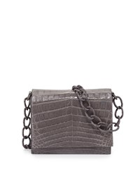 Nancy Gonzalez Small Crocodile Chain Crossbody Bag Black