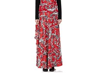 J.W.Anderson Women's Ruffled Brocade Print Silk Long Skirt Red Grey White