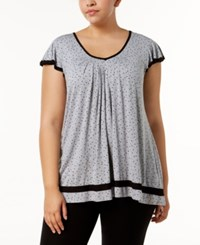 Ellen Tracy Plus Size Yours To Love Short Sleeve Top Grey Heather Dot