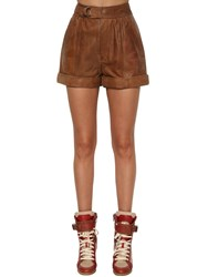 Zadig And Voltaire High Waist Leather Shorts Brown