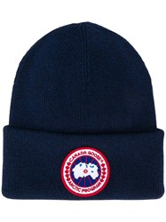 Canada Goose Knitted Logo Beanie Blue