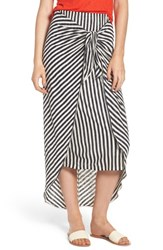 Splendid X Margherita Isola Stripe Sarong Skirt Natural Navy