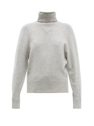 Joseph Ribbed Roll Neck Wool Blend Sweater Grey