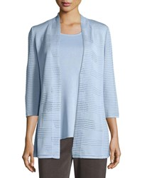 Misook Textured 3 4 Sleeve Hook Front Knit Jacket Plus Size Blue Frost