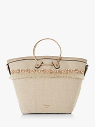 Dune Dejewel Metal Handle Tote Bag Neutral