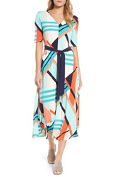 Chaus Women's Belted Geo Print Midi Dress Coral Blaze