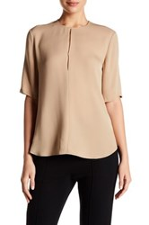 Theory 3 4 Sleeve Front Keyhole Silk Blouse Beige