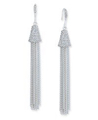 Inc International Concepts Silver Tone Pave Accented Tassel Drop Earrings