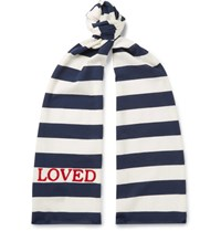 Gucci Embroidered Striped Cotton Jersey Scarf Blue