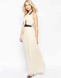 Little Mistress Halter Neck Prom Maxi Dress With Embellishment Multi