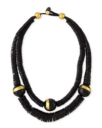 Viktoria Hayman Double Strand Puka Shell Necklace Black Gold